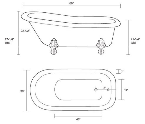Restoria ambassador classic slipper clawfoot tub for Bathtub length